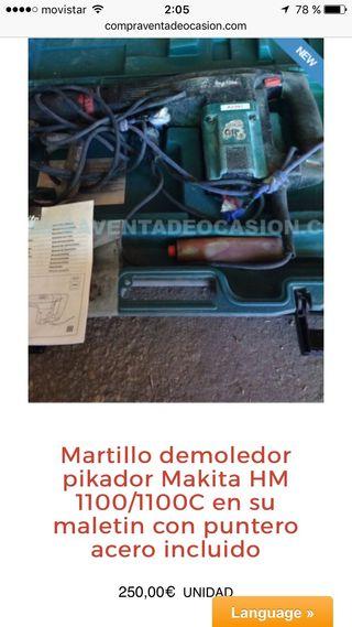 Martillo demoledor makita hm 1100 batería cargador