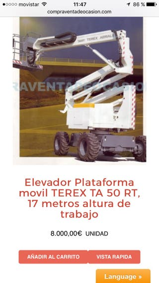 Terex ta 50 cesta elevador plataforma 17 metros