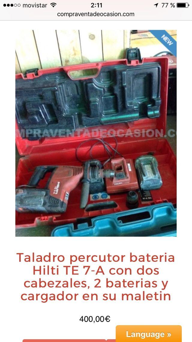 Taladro percutor baterial Hilti TA 7 2 bocas