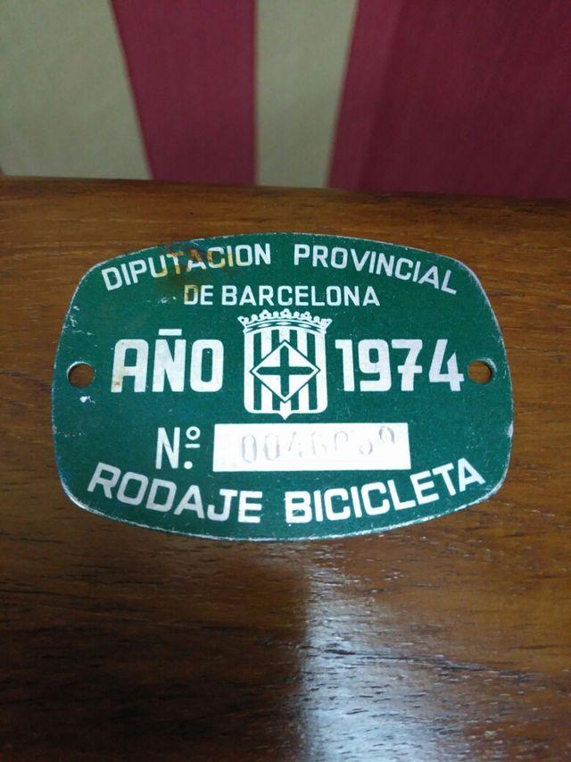 Matricula Bicicleta vintage antiguedad