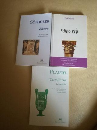 Libro Edipo Rey, Sofocles Electra y Plauto .