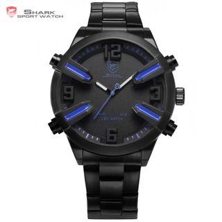 Reloj shark negro y azul pantalla dual led1