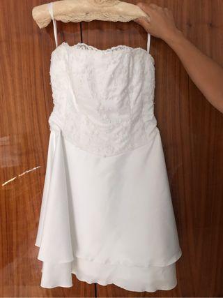 Vestido blanco novia corto