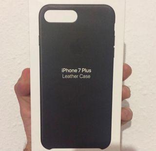 iPhone 7Plus y 8Plus Funda Piel Leather Negra/o APPLE ORIGINAL