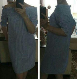 Nuevo Vestido cuadraditos B/N.Hombros Descubiertos