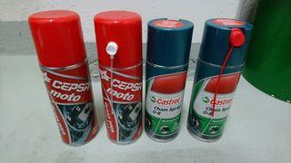 Grasa spray cadena moto Castrol y Cepsa
