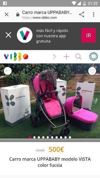 Silla y capazo Uppababy Vista 2015 Rosa fucsia