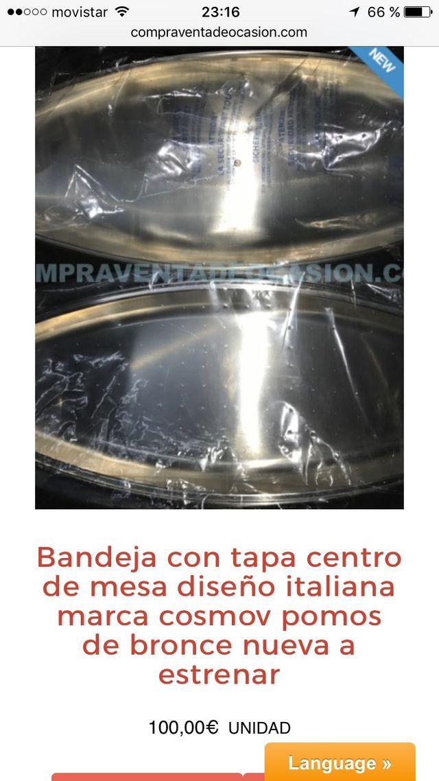 Bandeja diseño centro mesa cosmov italiana bronce
