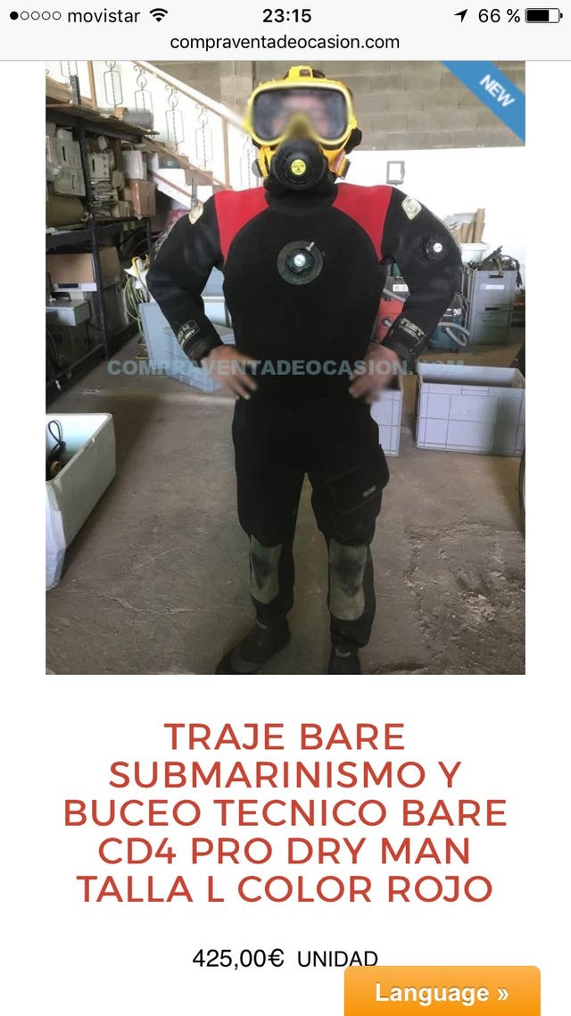 Traje submarinismo profesional cd4 talla L rojo pr
