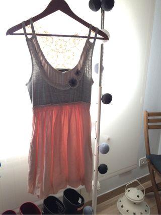 Vestido rosa y gris talla S