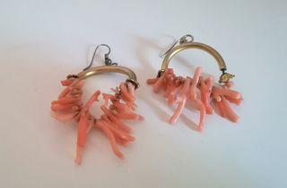 Pendientes Vintage coral y plata