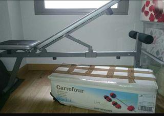 juego de pesas y banco reclinable