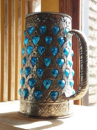 Jarra de Cerveza Hierro Forjado y Cristal azul Ind
