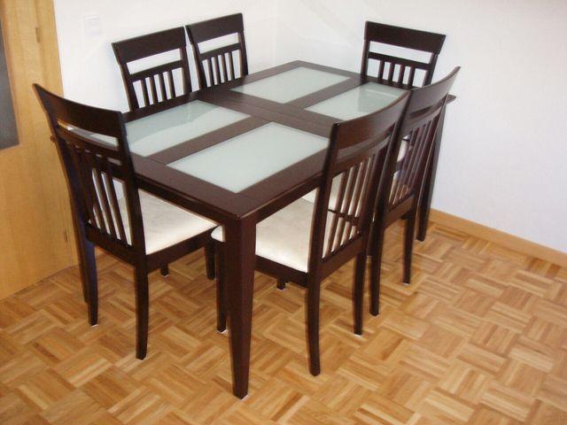 Conjunto mesa comedor wengué extensible + 6 sillas de segunda mano ...