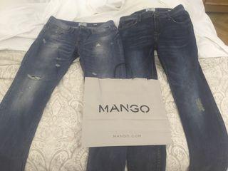 2 pantalones vaqueros mango hombre de segunda mano por 10