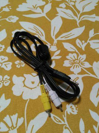cable de 1'45m, de minijack a rca video y mono
