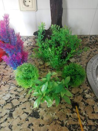 plantas de plástico para acuario