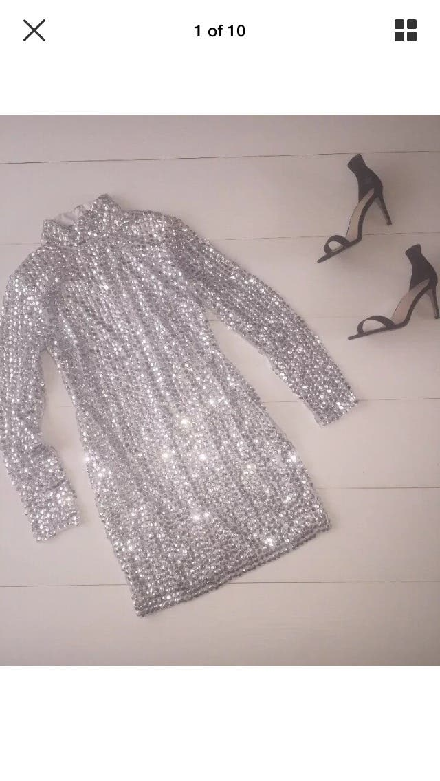 Missguided silver sequin dress