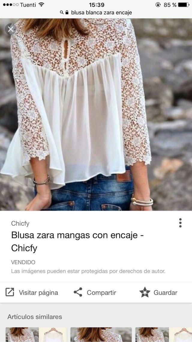 af2237cf4 Blusa encaje zara de segunda mano por 15 € en Jaén en WALLAPOP