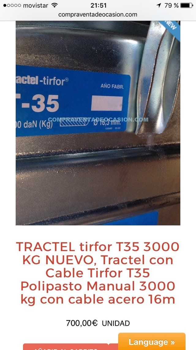 Tractel T35 nuevo tirfor 3000 kg y cable acero 16m