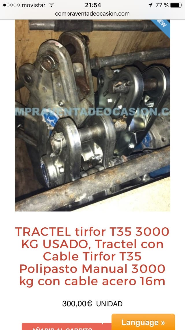 Tractel usado tirfor T35 3000 kg con cable de acer
