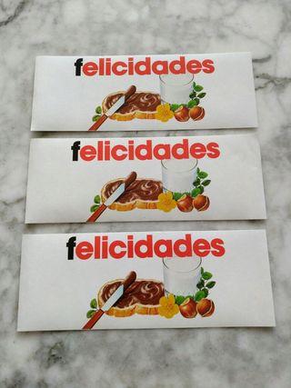 Tres etiquetas Felicidades de Nutella