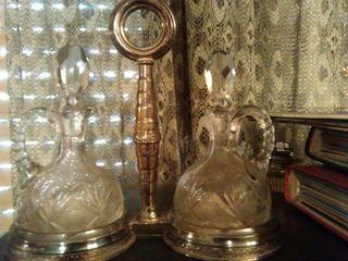 juego aceitera/vinagrera de cristal tallado