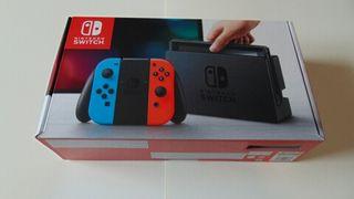Caja de Nintendo Switch rojo y azul neón