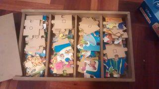 4 puzzles madera