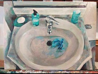 Pintura Cuadro a óleo baño