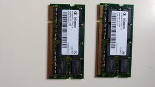 Lote 2 Memorias RAM 512MB DDR para Portatil