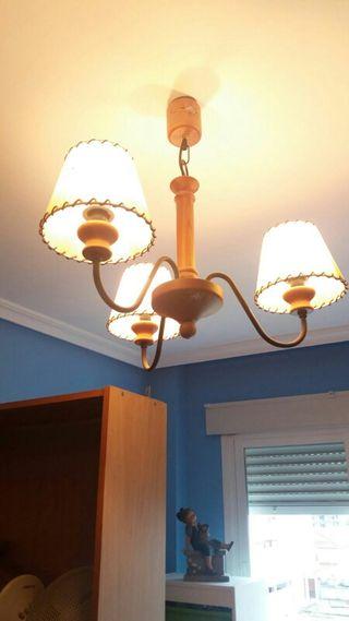 lampara madera y aplique