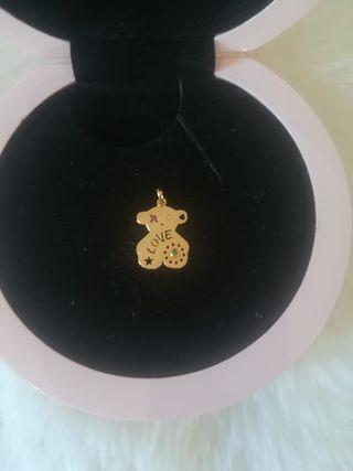 colgante lyra oro zafiro y diamante osito Tous