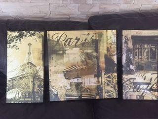 Cuadros triptico Paris decor
