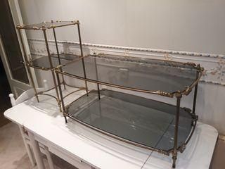 mesa de centro y mesita auxiliar de bronce