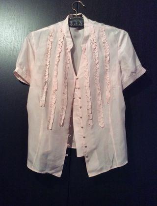 Blusa de seda natural, marca Laserre, T44, puesta una vez. REBAJADA