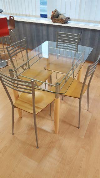 OFERTA!!! Conjunto Mesa Cristal + 4 sillas