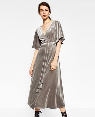 vestido zara gris
