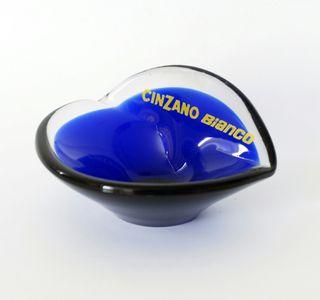 Cenicero azul de vidrio, publicidad Cinzano Bianco