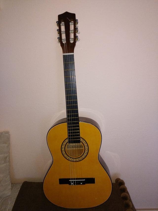 guitarra clasica + funda de tela de coadros azul