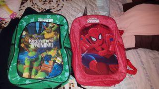 mochilas de niño espiderman y tortugas ninlla