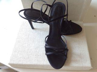 Sandalia raso negra talla 39