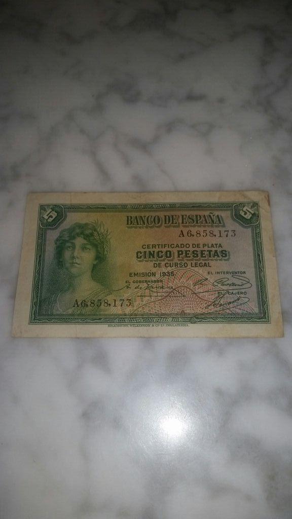 Billete 5 pesetas de la Republica