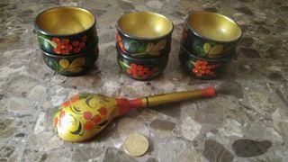 "6 vasos y cucharamadera ""Jojlomá"""