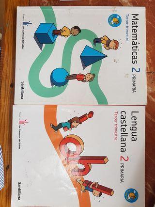 libros matemáticas y lengua 2 Santillana