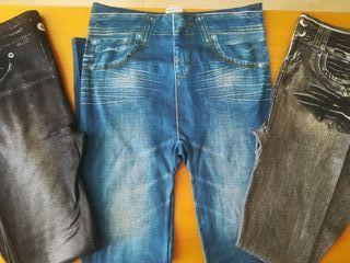 Lote leggings tipo tejano afelpados L-XL