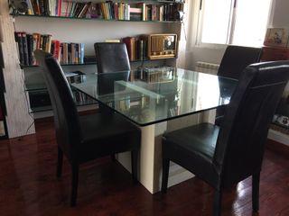 Mesa y estantería cristal y mármol regalo 8 sillas
