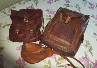 mochilas y riñonera cuero