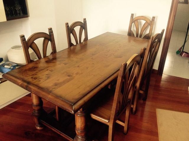 Mesa y 6 sillas comedor o txoko madera maciza de segunda ...