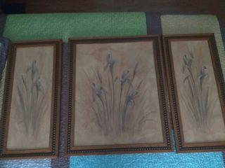 Cuadro (tres piezas) floral